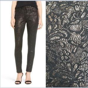 NYDJ Jeans Leggings Alina Lace Skinny Metallic